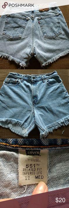 Vintage Levi's 551 cut-off shorts size 12 Super cute vintage Levi's 551 cut-off shorts size 12 but fits size 10 Levi's Shorts Jean Shorts