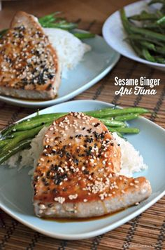 Sesame Ginger Ahi Tuna Steaks--easy and yummy Fish Recipes, Seafood Recipes, Cooking Recipes, Fish Dishes, Seafood Dishes, Tuna Dishes, The Best, Food And Drink, Steak Recipes