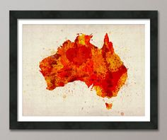 Americanflat Australia Watercolor Map Wall Mural Size: H x W, Color: Orange Wassily Kandinsky, Wall Art Prints, Canvas Prints, Wall Paintings, Australia Map, Australia Tattoo, Watercolor Map, Paint Splash, Red Paint