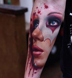 Tatuagens no Antebraço |  rosto feminino realista