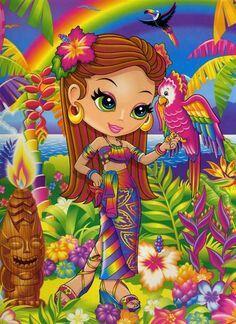 Lisa Frank tropical island tiki godess