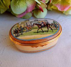 Halcyon Days Enamel Trinket Box Le Paddock De Longchamp Jockey Club Paris Horse #HalcyonDays