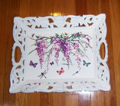 Ornate Wisteria Vine wood tray  glitter by MoanasUniqueDesigns, $50.00