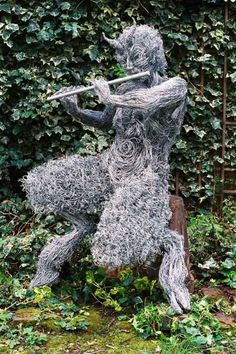 Steel wire #sculpture by #sculptor Barbara Foster titled: 'Pan Proclaimer (abstract Great God Pan Flute statue)'. #BarbaraFoster