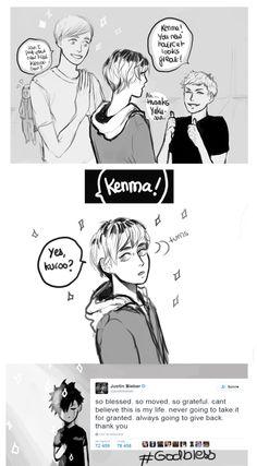 "squidwartt: ""I have no excuse other than the fact that I like drawing Kenma with different hairstyles & lovestruck Kuroo. Kenma Kozume, Daisuga, Kuroken, Bokuaka, Iwaoi, Kagehina, Haikyuu Funny, Haikyuu Fanart, Haikyuu Ships"