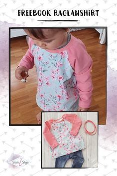 Free sewing instructions for a raglan shirt - Babykleidung Baby Clothes Sizes, Baby Clothes Storage, Baby Clothes Quilt, Handmade Baby Clothes, Baby Clothes Patterns, Coat Patterns, Raglan Shirts, Baby Shirts, Baby Tie