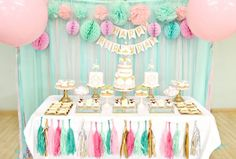 Pink, Mint and Gold Carousel Cake Dessert Table Birthday Party Cherie Kelly London Dessert Table Birthday, Cool Birthday Cakes, Pink Birthday, 1st Birthday Girls, Dessert Tables, Birthday Ideas, Carousel Cake, Blue Desserts, 13th Birthday Parties