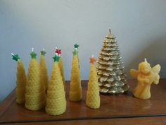 Partially homemade beeswax candles for christmas