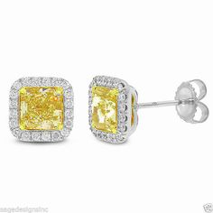 4.49 CT 18K White Gold Radiant Cut Natural Fancy Yellow Diamond Stud Earring #SageDesigns #Stud