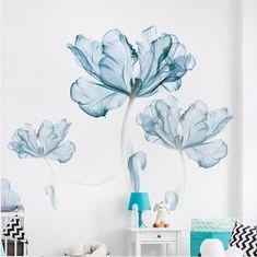 Large Blue Lotus Flower Vinyl Wall Sticker Poster Living Room Bedroom Home Decor Decals Stikers Mural Art Wallpaper Blue Lotus Flower, Light Blue Flowers, Big Flowers, Paper Flowers, Fresh Flowers, Flower Wall Stickers, Wall Stickers Murals, Wall Murals, Flower Decals For Walls