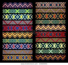 trendy contemporary ethnic seamless ribbons and braid border pattern embroidery cross squares diamonds stripe. Hand Embroidery Designs, Embroidery Patterns, Cross Stitch Patterns, Bead Loom Bracelets, Bracelet Patterns, Beading Patterns, Tribal Pattern Art, Ribbon Braids, Seed Beads