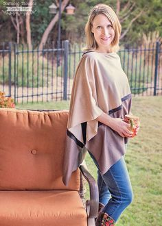 Download the free printable sewing pattern for the Asymmetrical Autumn Poncho today. This free sewing pattern is relatively easy to sew up and essential for any fall wardrobe.
