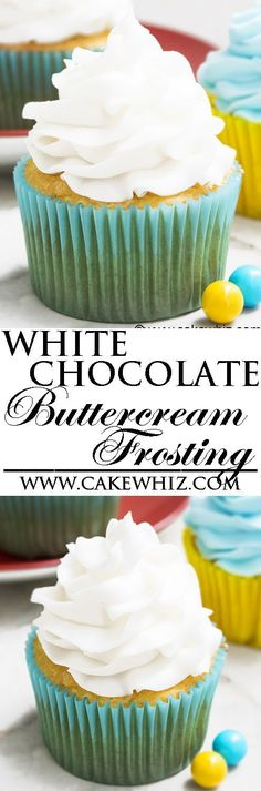 This quick and easy 2 ingredient WHITE CHOCOLATE BUTTERCREAM FROSTING is rich, creamy and fluffy. It's made with simple ingredients from your pantry and is great for cake decorating, piping cupcakes and filling/frosting cakes. #cakedecorating