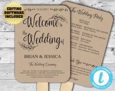 Wedding Program Template Instant Download Editable Template