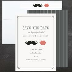minted wedding save the date card with pinstripe backer and skinny wrap address label, stache and kiss by penelope poppy