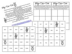 Here's a set of materials for playing Pig-Tac-Toe with addition facts.