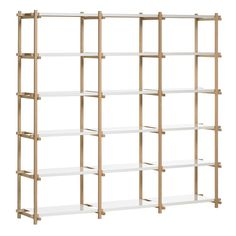 Hay Woody high shelving system, white ($1,085) ❤ liked on Polyvore featuring home, furniture, storage & shelves, bookcases, white bookshelves, white book shelves, shelving unit, book shelves and adjustable shelving systems