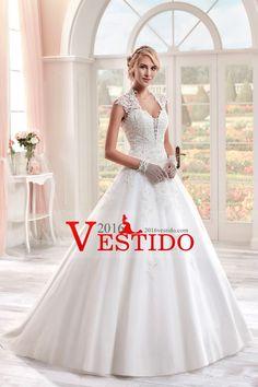 2017 vestidos de boda A-Line Cuello Alto Tribunal tren satinado con apliques cubierto Botones