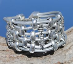 wide silver leather multistrand Bracelet von myDemimore auf Etsy