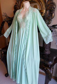 Vintage Olga Nightgown Robe Retro Spandex M XL Plus RARE Lingerie Couture Green | eBay