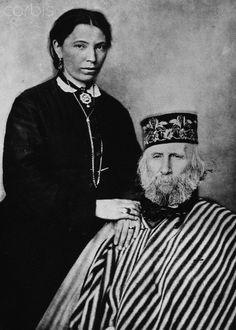 Italian Patriot, Giuseppe Garibaldi, the central figure in the story of Italian independence, with his third wife, Francesca Armosina. 1880   #TuscanyAgriturismoGiratola