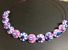 Button Necklace Spotted Wooden Choker  Purple Pink Blue £12.50