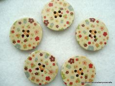 30mm Ditsy Flower Print Wooden Buttons Floral by berrynicecrafts, £1.00