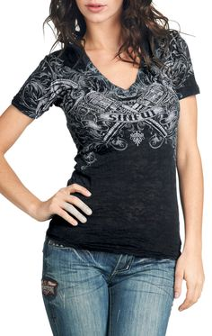 Style Addiction - Sinful by Affliction Vixen Burnout T-Shirt, $46.34 (http://www.styleaddiction.com/sinful-by-affliction-vixen-burnout-t-shirt/)