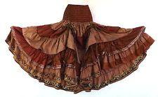 Steampunk Boho Gypsy Belly Dance Costume Vintage Silk Tiered Skirt Brown