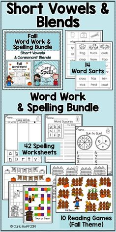 Give your students plenty of fun and effective practice reading and spelling words with short vowels and consonant blends with the assortment of activities in this money-saving bundle.  I love all the practice options!