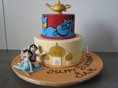 Aladdin and Jasmine birthday party cake One Year Birthday Cake, Aladdin Birthday Party, Aladdin Party, Birthday Cake Girls, Disney Themed Cakes, Disney Cakes, Mini Tortillas, Jasmine Cake, Jasmine Party