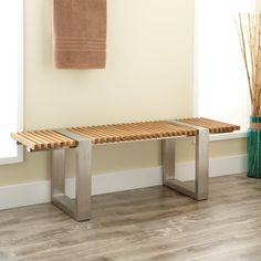 "$799.00 - 55"" - Teak & Stainless Steel - Gaffney+Teak+and+Stainless+Steel+Bench"
