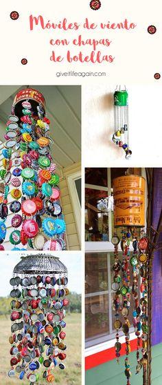 Móviles de viento para tu balcón y jardín hechos con chapas de botellas recicladas Diy And Crafts, Crafts For Kids, Arts And Crafts, Land Art, Puerto Rico, Wind Chimes, Playground, Ladder Decor, Recycling