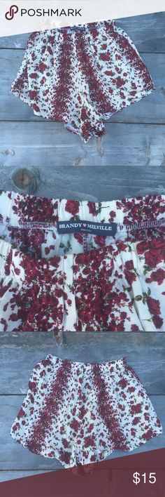 "BRANDY MELVILLE RED FLORAL SHORTS SZ S BRANDY MELVILLE  RED FLORAL DHORTS  COTTON  WAIST 11""  SOFT  GOOD CONDITION Brandy Melville Shorts"