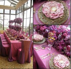 Elegant Entertaining: Lovely mix of china, luxe linens, chair cover, and a mix of beautiful rose with lavender flowers. Simply divine!