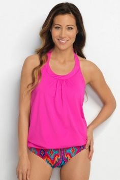 Shop HAPARI for modern tankinis. Our fuchsia halter blouson top is a bright…