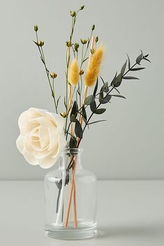 Floral Bouquet Diffuser by Anthropologie in Yellow, Candle Bouquet Diffuser by Anthropologie in Yellow, Candles Flower Vases, Flower Pots, Yellow Candles, Deco Floral, How To Preserve Flowers, Glass Vessel, Floral Bouquets, Oil Diffuser, Dried Flowers