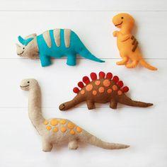 Happy Dinosaur Felt Toys - Four handmade soft plush dinos - Triceratops, T-Rex, Stegosaurus, Brontosaurus