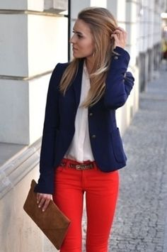 love it! white shirt, navy blazer & red pants Clothes Casual Outift for • teens • movies • girls • women •. summer • fall • spring • winter • outfit ideas • dates • parties Polyvore :) Catalina Christiano