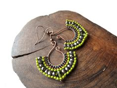 Beaded fan earrings, bead woven on wire in olive and bronze, ethnic, boho jewelry, made to order via Etsy