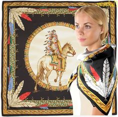 """Authentic Versace Black gold Feathers Indian Chief Silk Scarf 35/"""" Made In Italy"""
