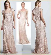 $428 Tadashi Shoji Sequined Paillette embroidered lace Cap Sleeve Dress Gown