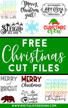 Tons of FREE Christmas SVG cut files! Make t-shirts, accessories, decorations, and more with these cut files! via Digitalist Designs Source by digitalistdesigns decor Cricut Christmas Ideas, Merry Christmas, Christmas Fonts, Christmas Vinyl, Christmas Cards, Xmas, Christmas Printables, Christmas Projects, Christmas Shirts