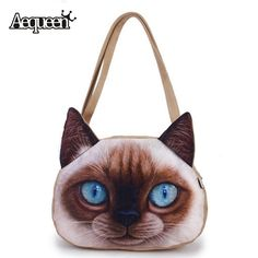 6195cabbe1b7 3D Frosted Women Cute Cat Printing Handbags Shoulder Zipper Polyester  Student Handbag Girls Animals Bag Bookbag