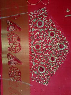 Zardosi Embroidery, Hand Embroidery Dress, Embroidery Neck Designs, Embroidery On Clothes, Wedding Saree Blouse Designs, Best Blouse Designs, Silk Saree Blouse Designs, Zardosi Work Blouse, Big Rangoli Designs