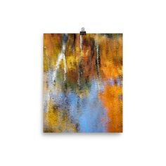 Photo paper poster with beautiful reflection of birch trees on Saco River.