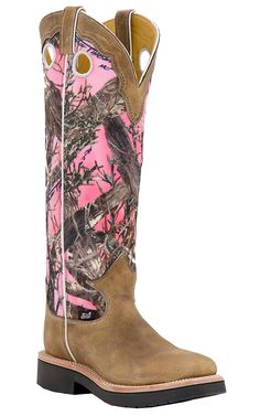 Justin® Ladies Distressed Brown with Pink Camo Top Square Toe Snake Proof Boots
