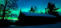 Cottage snowy Lapland with Northern Lights - Cabaña nevada con aurora boreal