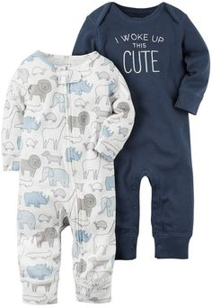Carter's Baby Boy 2-pk. Animal I Woke Up This Cute Babysoft Coveralls