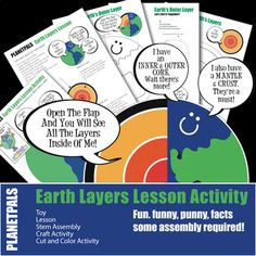 Earthday or any day. Fun and Fact Lesson on the science and geography on the layers of Earth. Easy to understand. Playful Text. Colorful exclusive cartoons and art enhance the learning experience!Activities on this lesson:Memorable fact filled Fun, Funny, Punny Lesson!Coloring ActivitiesCutting, Fo... Earth Science Lessons, Science Topics, Science For Kids, Science Fun, Activity World, Friendship Activities, Earth Layers, The Learning Experience, Paragraph Writing